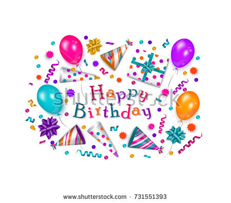 birthday wishes poster making ; stock-vector-happy-birthday-greeting-card-banner-poster-design-with-realistic-cake-present-box-party-hat-731551393
