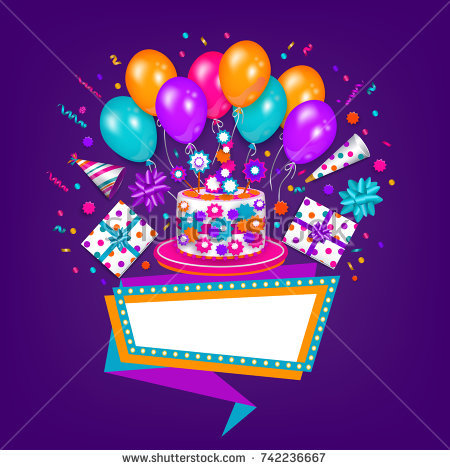 birthday wishes poster making ; stock-vector-happy-birthday-greeting-card-poster-design-with-cake-present-party-hat-balloon-and-blank-banner-742236667
