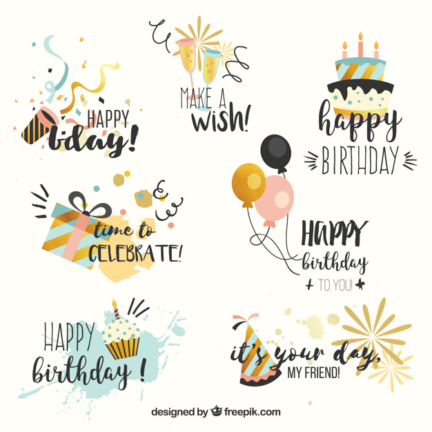 birthday wishes stickers free download ; collection-of-birthday-stickers-in-vintage-style_23-2147608564