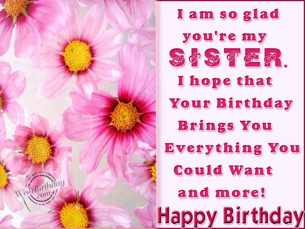 birthday wishes to my sister greeting cards ; 1002