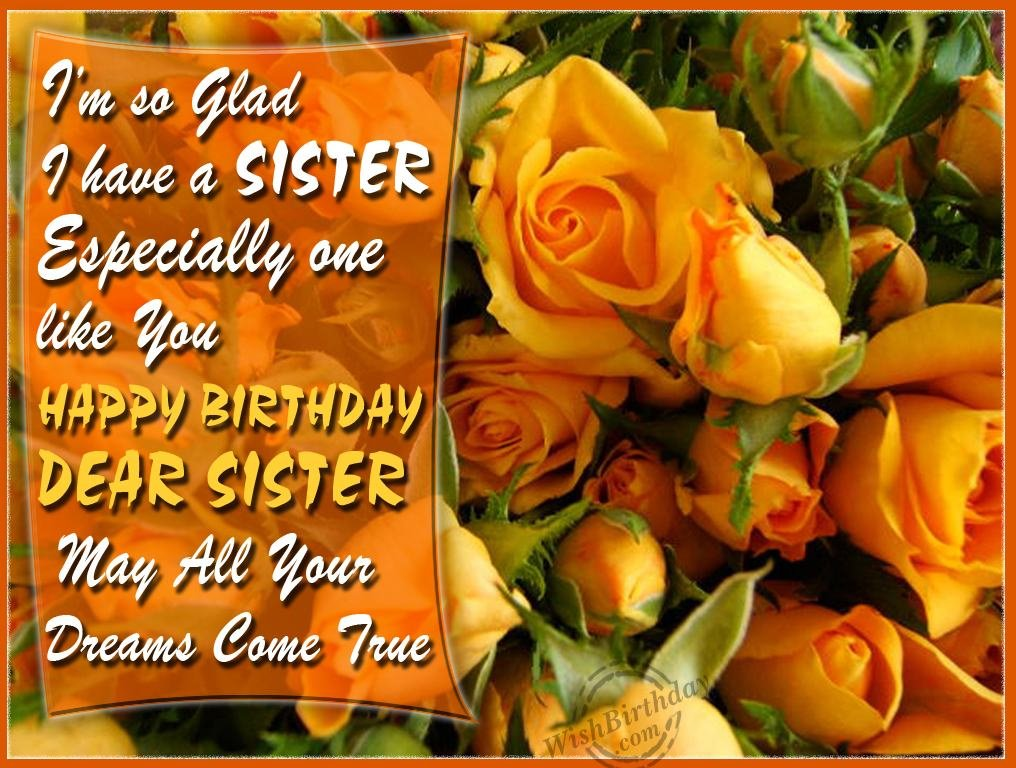 birthday wishes to my sister greeting cards ; 1078