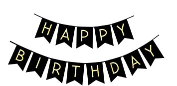 black and white happy birthday sign ; 51670kI6NDL
