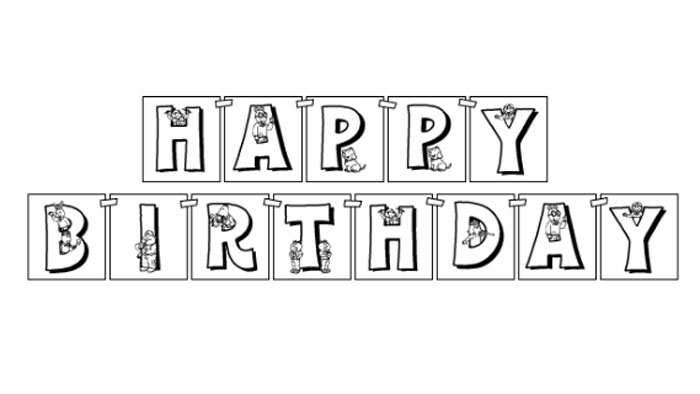 black and white happy birthday sign ; arthur-birthday-banner