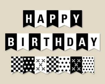 black and white happy birthday sign ; black-and-white-banner-printable-party-banner-happy-birthday-for-happy-birthday-banner-black-and-white
