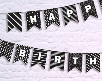 black and white happy birthday sign ; il_340x270