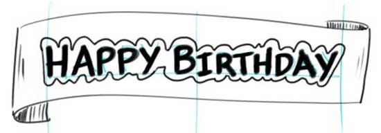 black and white happy birthday sign ; make-a-birthday-banner