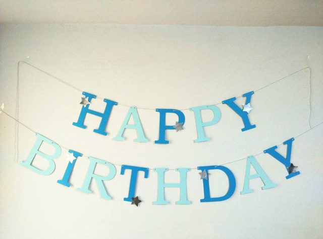 blue happy birthday sign ; Customize-Letter-Blue-Garland-boys-Happy-Birthday-Banners-Party-Decoration-Home-Decor-Baby-Shower-silver-star