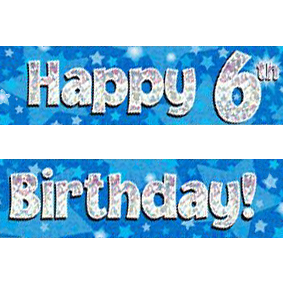 blue happy birthday sign ; blue-age-6-banner-big