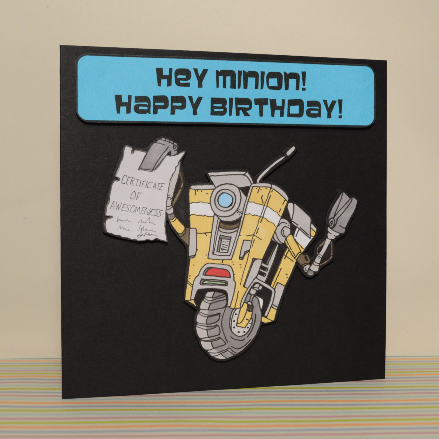borderlands birthday card ; legendary-loot-claptrap-greeting-card-hey-minion-happy-birthday
