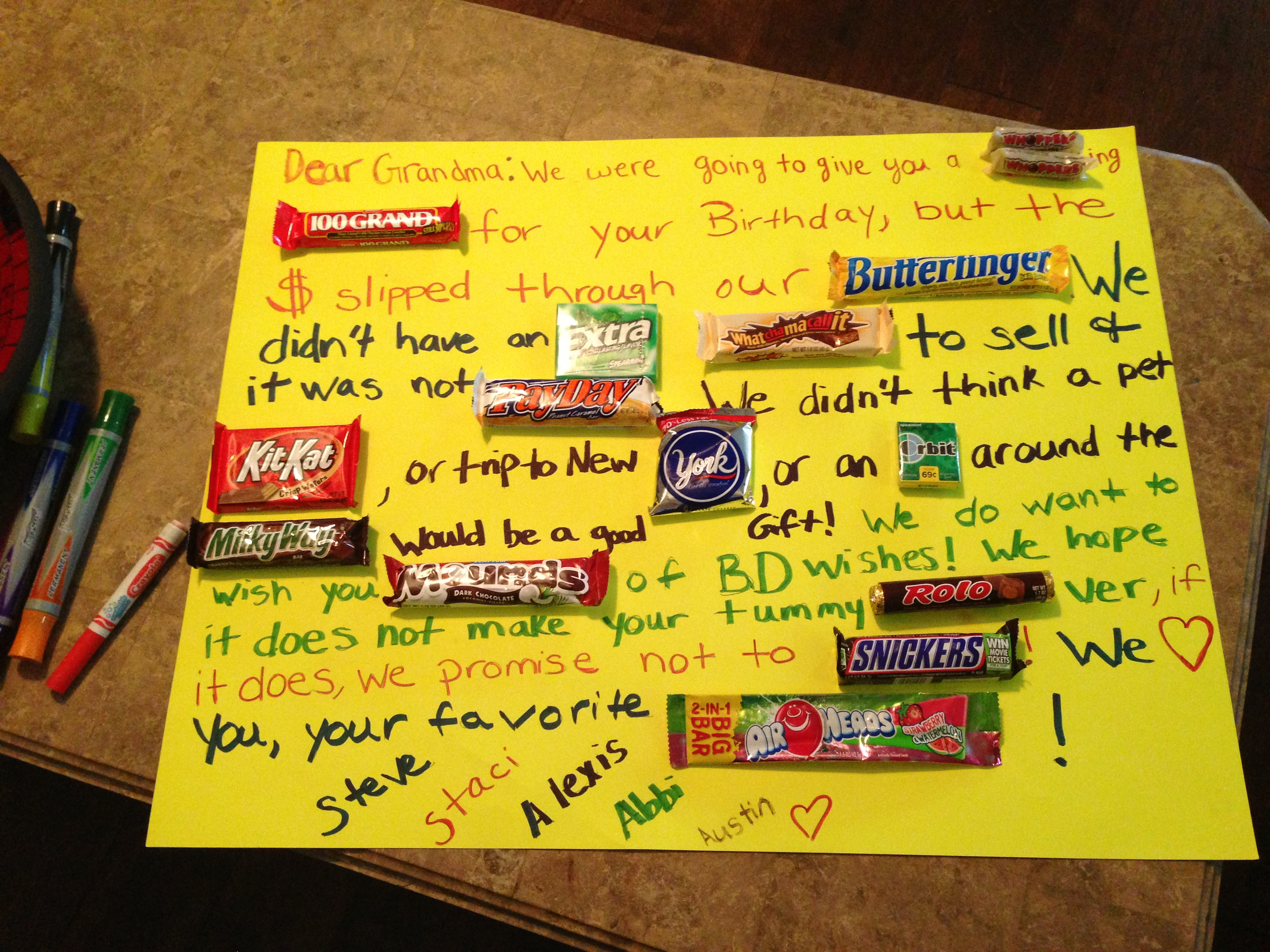 candy message poster for birthday ; 122551d5c3b6d2f474aaeee9b2e4b958
