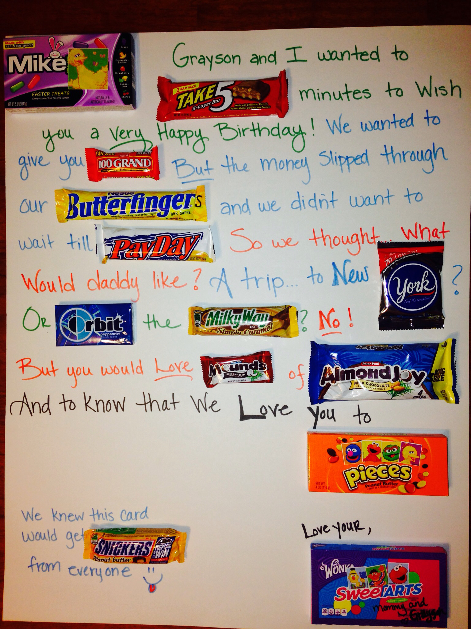 candy message poster for birthday ; 621b42224dc4feb49cd12b8a9664dd53