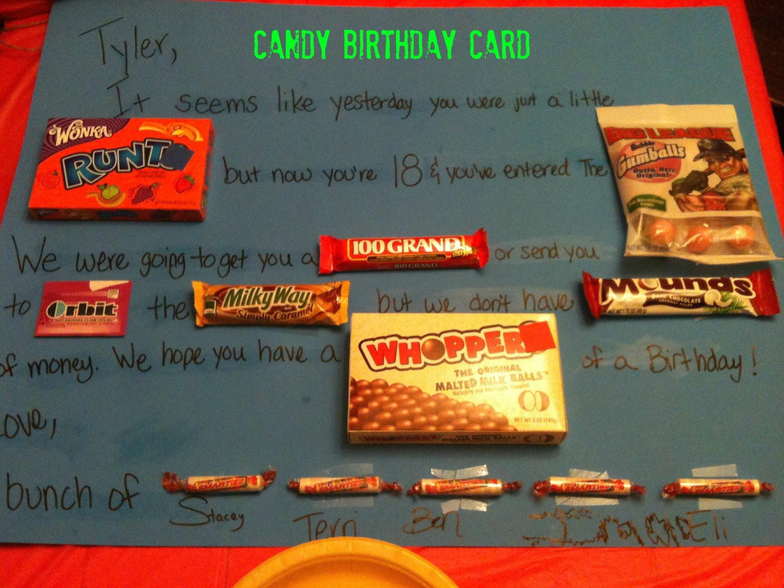 candy message poster for birthday ; tyler