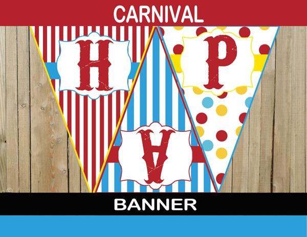 carnival themed birthday banner ; 110-Big-Top-Carnival-Party-Banner