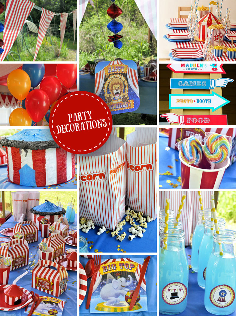 carnival themed birthday banner ; decorations