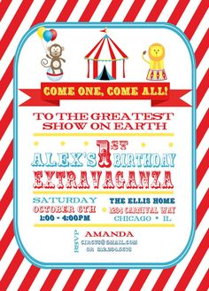 carnival themed birthday party invitation wording ; Circus-Party-Invitations-design-sample-simple-detail-ideas-free-wording-cool