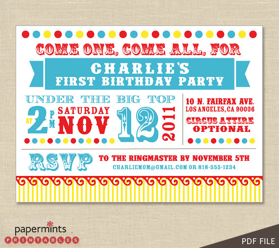 carnival themed birthday party invitation wording ; Circus-Party-Invitations-printable-detail-ideas-cool-designer-format-easy-print