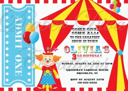 Carnival Themed Birthday Party Invitation Wording Invitations Children