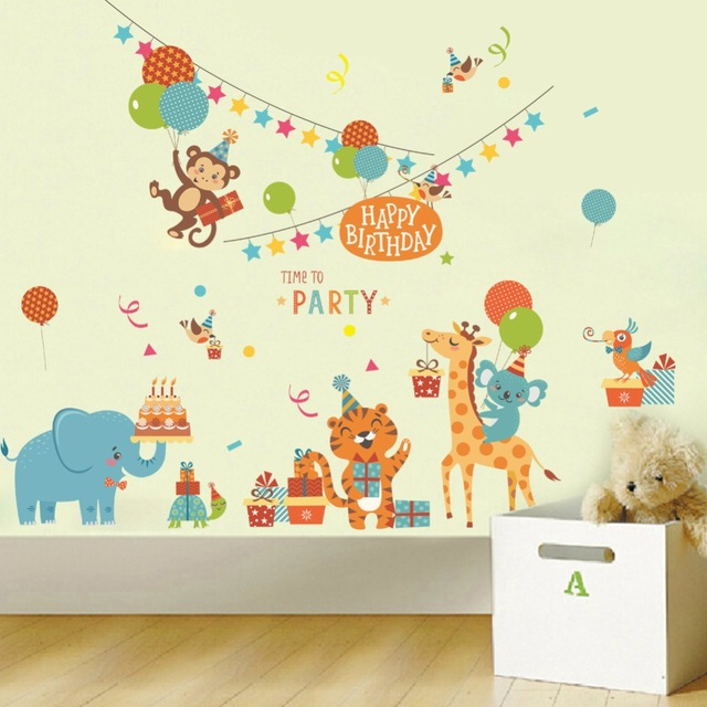 cartoon birthday wallpaper ; Cartoon-Animals-Birthday-Party-Wall-Stickers-Kids-Room-Nursery-Wallpaper-Poster-Tiger-Monkey-Giraffe-Elephant-Party