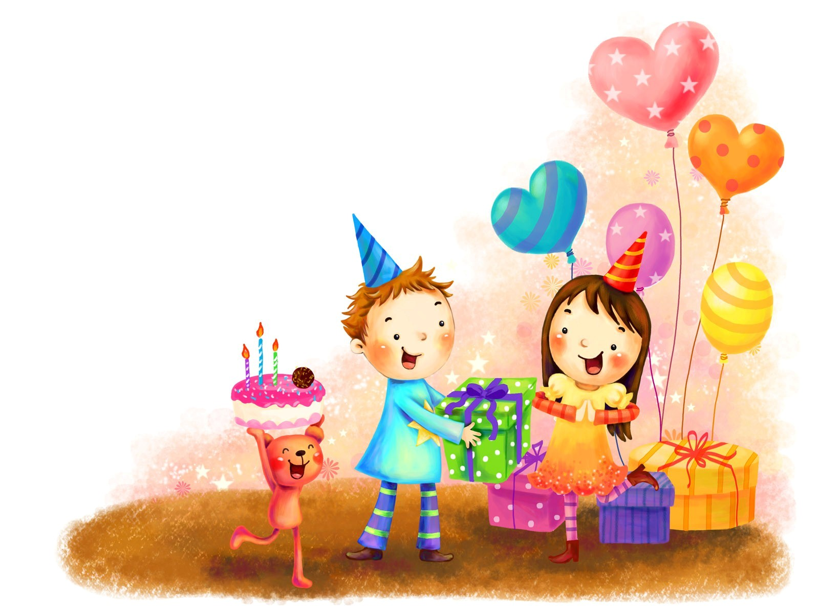 cartoon birthday wallpaper ; Cartton_Celebrate_Birthday_Party
