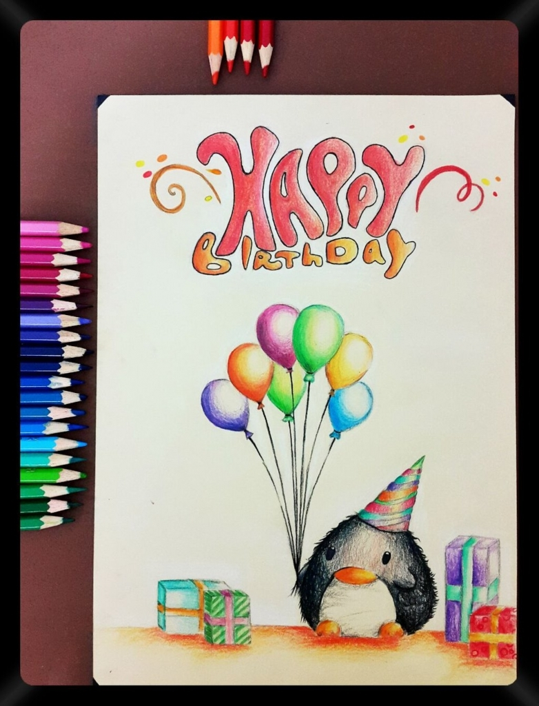 cartoon drawings for birthday cards ; pencil-drawing-33-a-birthday-card-to-my-friends-nasik2424-on-1