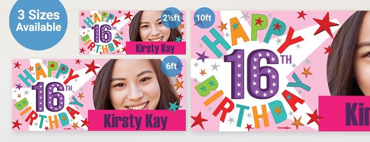 cheap personalised birthday banners with photos ; 16th-birthday-personalised-banners_L3