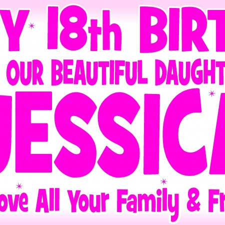 cheap personalised birthday banners with photos ; Pinks1-450x450