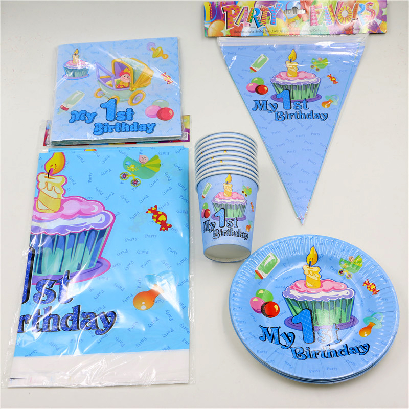 cheap photo birthday banners ; 62pcs-lot-Decoration-Tablecloth-Boys-Girls-Kids-Favors-Napkins-1st-Birthday-Party-Paper-Plates-Cups-Baby