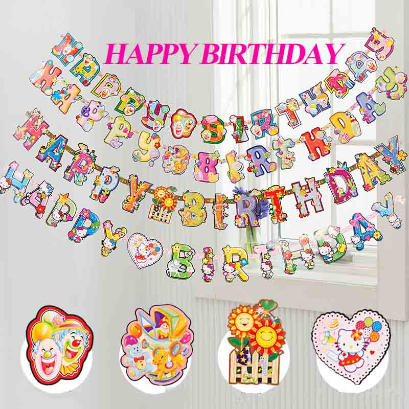 cheap photo birthday banners ; Cartoon-Color-HAPPY-BIRTHDAY-Letters-Scroll-Paper-Flags-Birthday-Party-Hanging-Banners-Decoration-20pcs-lot-SD460
