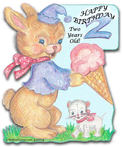 clipart for birthday wishes ; bunnyTwo
