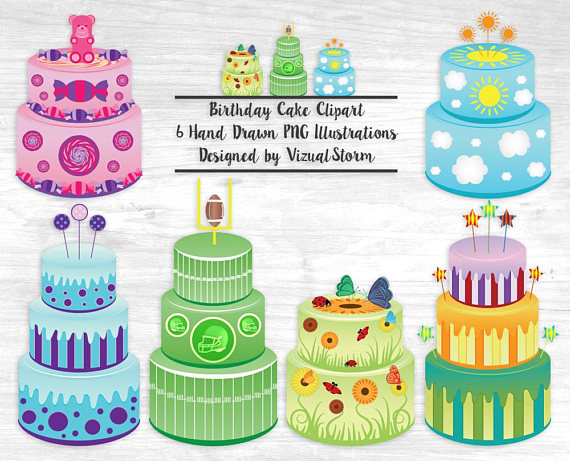 clipart images of birthday cakes ; il_570xN