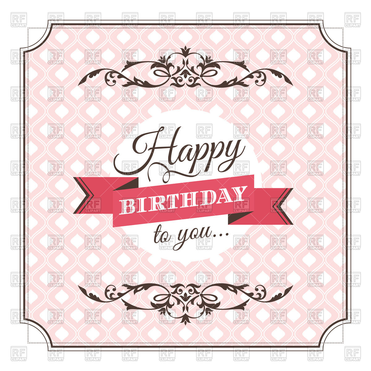 clipart of birthday cards ; vintage-pink-birthday-card-Download-Royalty-free-Vector-File-EPS-129597
