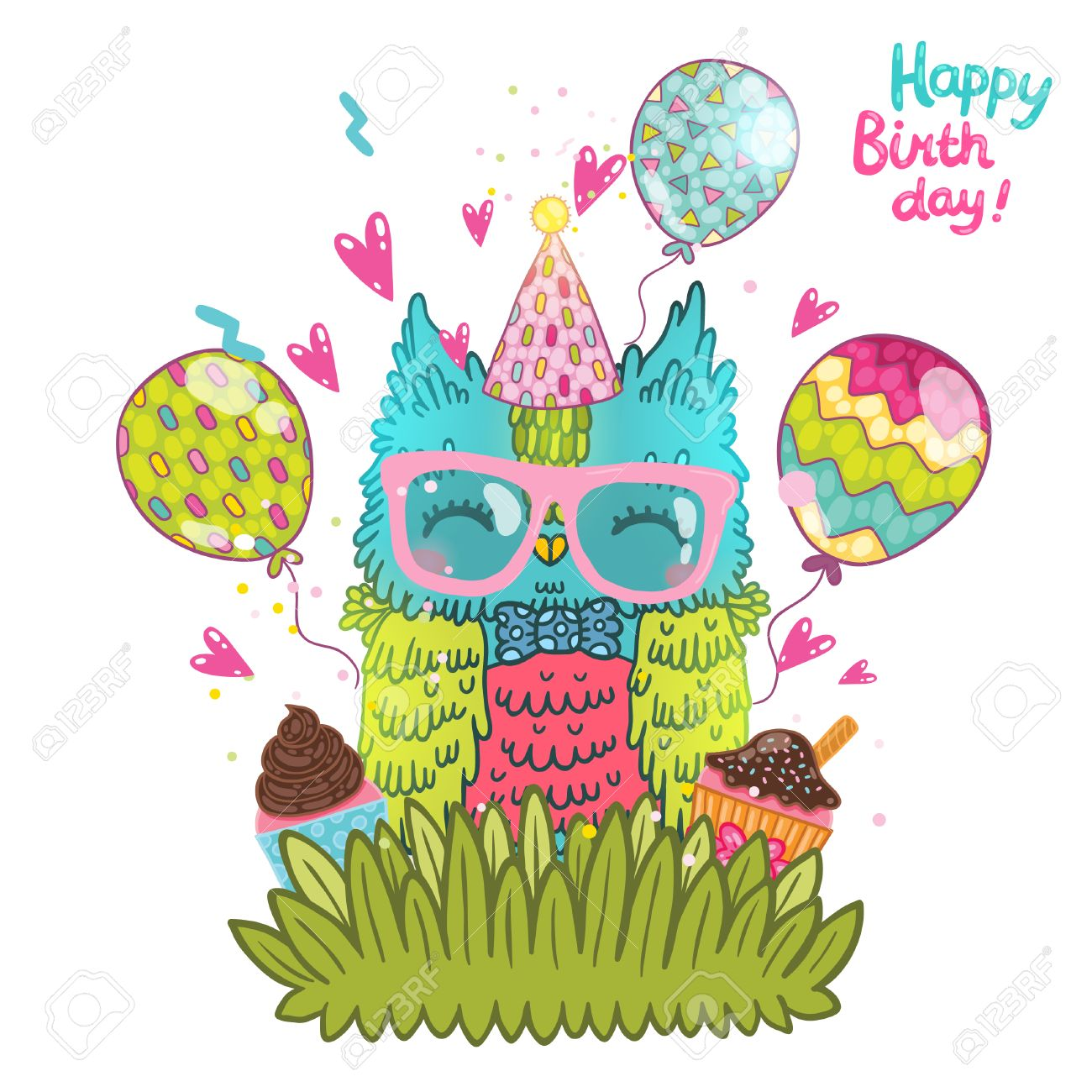 clipart of birthday wishes ; 29378193-happy-birthday-greeting-background-with-an-owl-vector-illustration