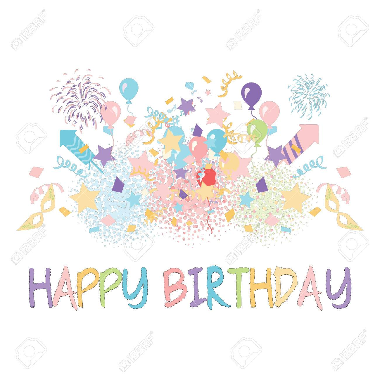 clipart of birthday wishes ; 85606593-pastel-party-with-confetti-balloons-and-happy-birthday-greeting-in-the-middle-