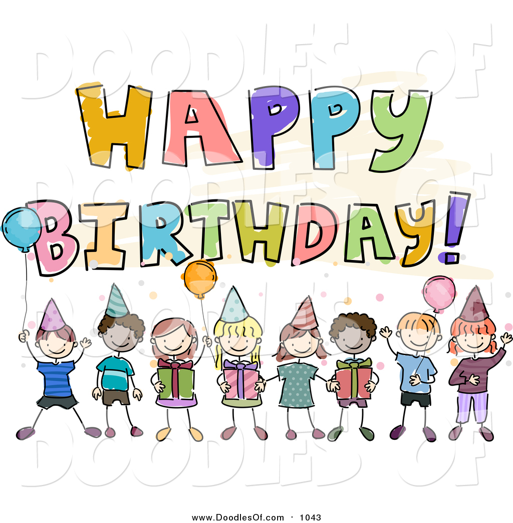 clipart of birthday wishes ; vector-clipart-of-a-doodled-happy-birthday-greeting-with-kids-by-bnp-design-studio-1043