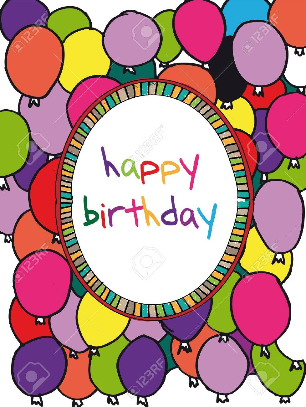 colorful birthday borders ; 11487070-birthday-card-with-colored-balloons-border-vector-illustration