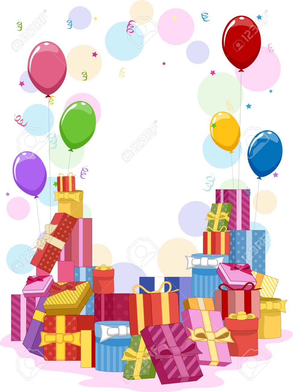 colorful birthday borders ; 9670326-frame-featuring-colorful-gifts-and-balloons