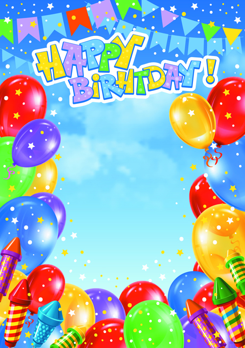 colorful birthday borders ; Balloons-5