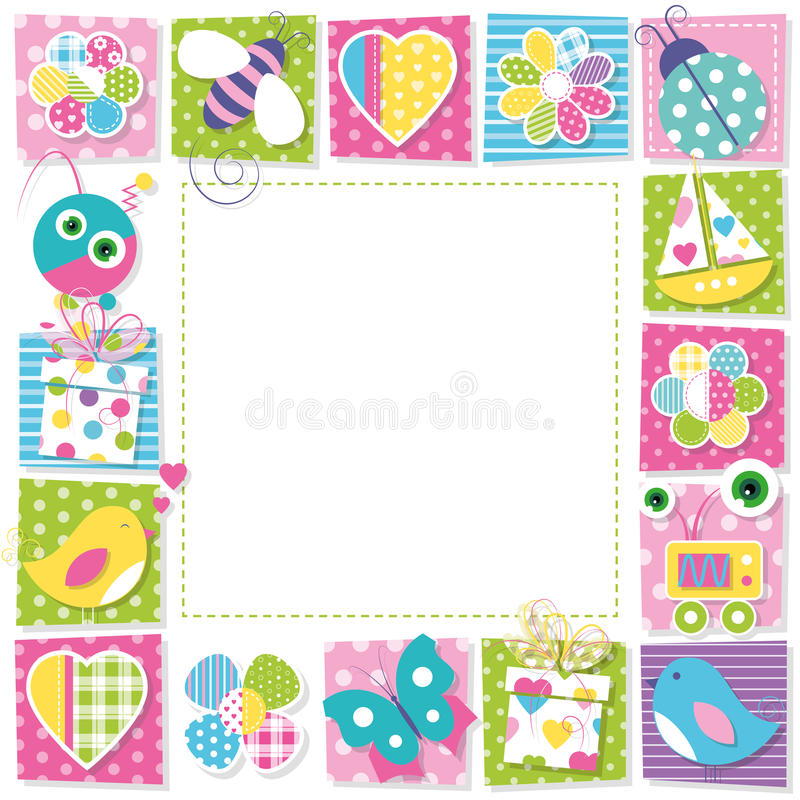 colorful birthday borders ; cute-happy-birthday-border-illustration-butterflies-hearts-flowers-ladybug-bee-robots-presents-boat-birds-colorful-48906576