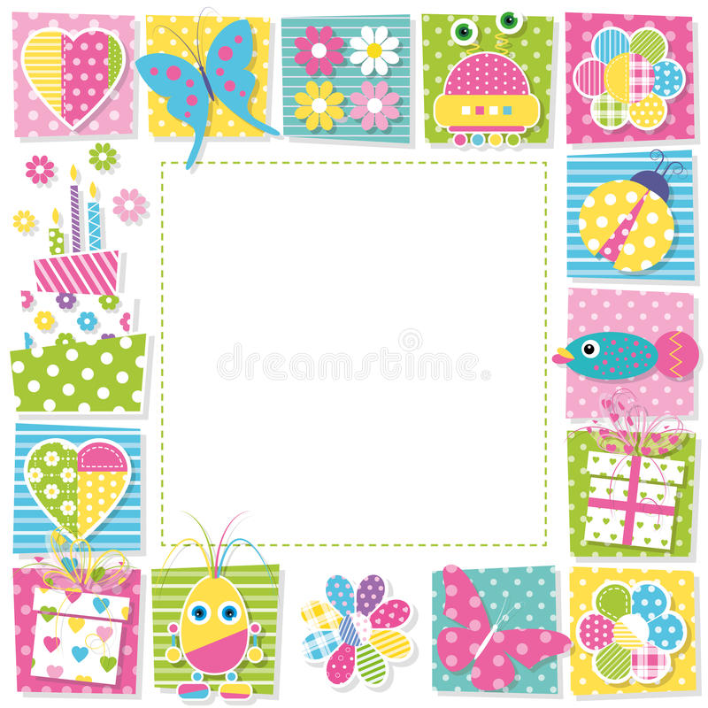 colorful birthday borders ; cute-happy-birthday-border-illustration-butterflies-hearts-flowers-ladybug-robots-presents-cake-fish-colorful-square-48905585