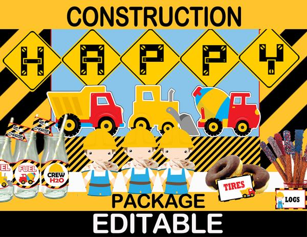 construction theme birthday banner ; 32-Construction-Birthday-Package