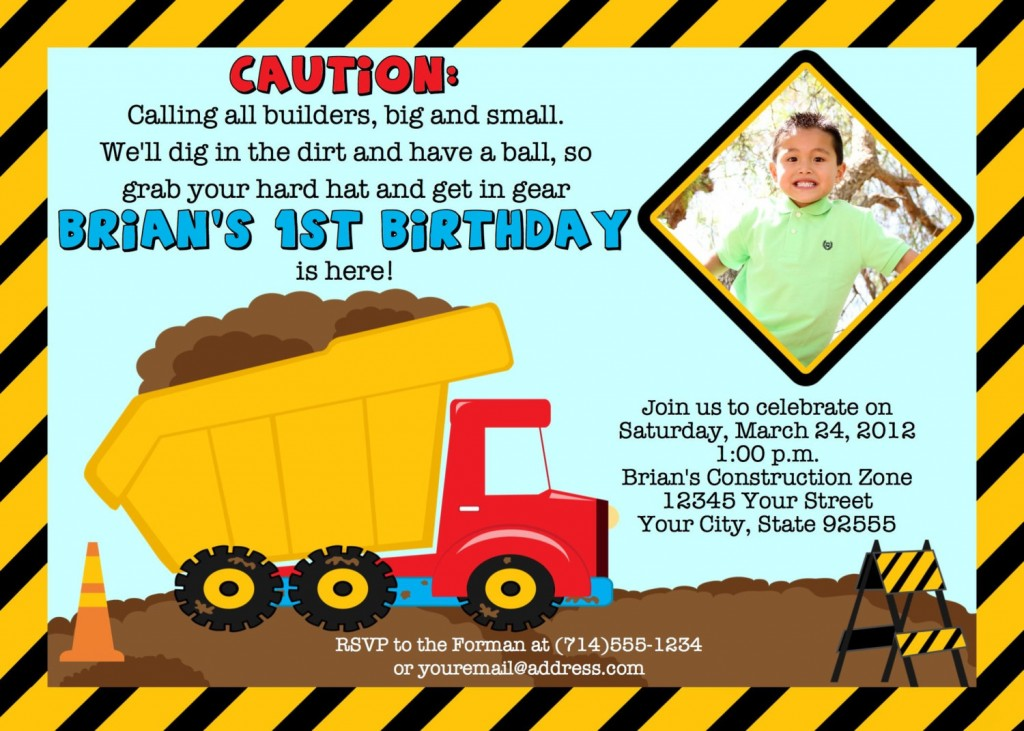 construction themed birthday party invitation wording ; Construction-Birthday-Invitations-Free