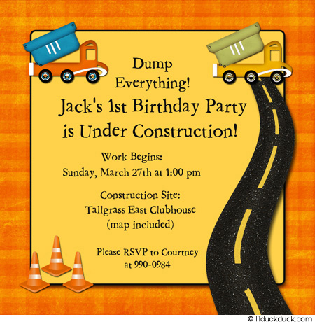 construction themed birthday party invitation wording ; Construction-Trucks-Orange-5x5-pp-NO-photo-yellow