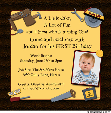 construction themed birthday party invitation wording ; Tool-Builder-Birthday-one-Brown-yellow-1-photo