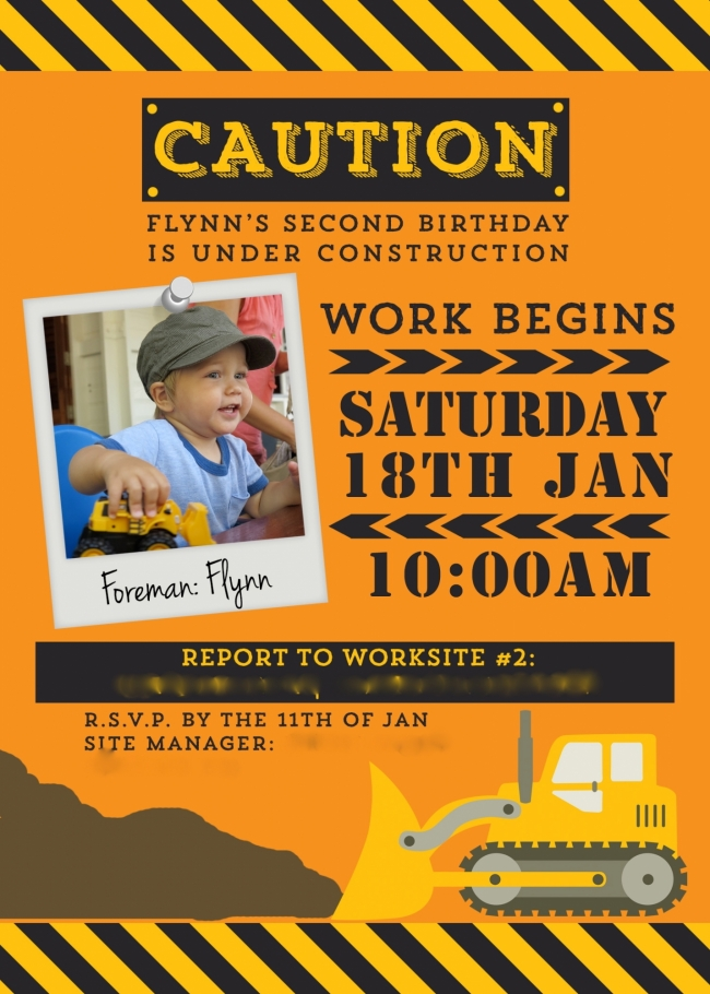 construction themed birthday party invitation wording ; ba903cae174f84f636d8db86b83c313d