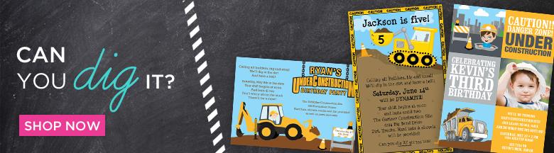 construction themed birthday party invitation wording ; construction-trucks
