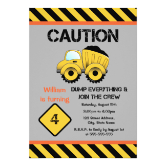 construction themed birthday party invitation wording ; dump_truck_constructions_birthday_party_invitation-Construction-Party-Invitations-simple-detail-ideas