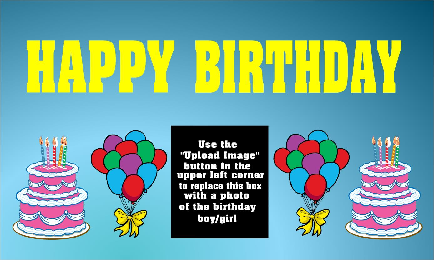 create birthday banner with photo ; Bi103