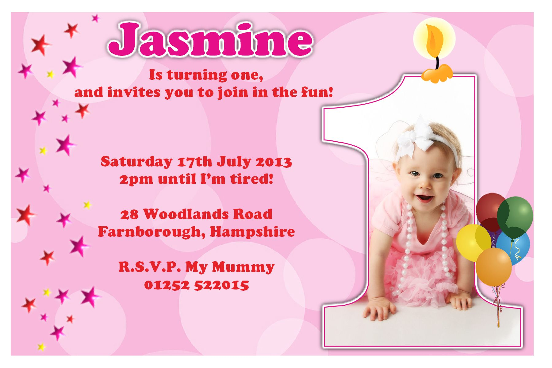 create birthday invitation card with photo ; girl-princess-first-birthday-invitation-cards-nice-sample-pink-color-background-real-picture-magnificent-template