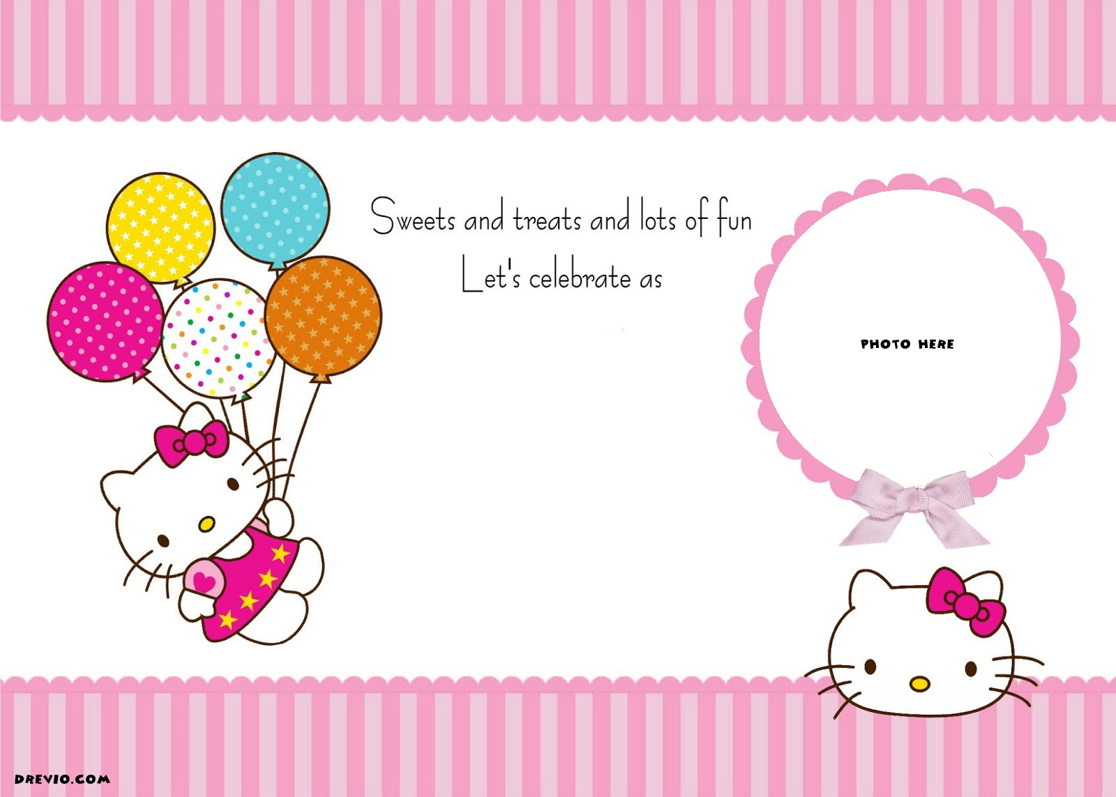 create birthday invitation card with photo online free ; FREE-Printable-Hello-Kitty-Invitation-Template-Balloons