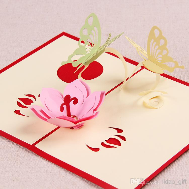 creative birthday greeting cards design ; love-theme-the-creative-butterflies-with